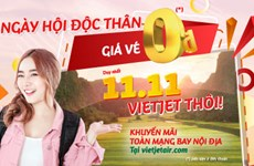 Vietjet offers millions of 0 VND tickets on Single's Day