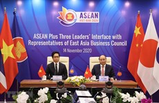 ASEAN Plus Three leaders talk with East Asia Business Council representatives
