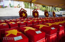Remains of volunteer soldiers reburied in Kien Giang