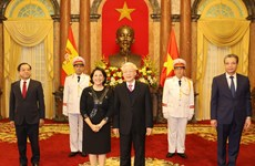 Top leader receives credentials of new ambassadors of Spain, Iran, Philippines