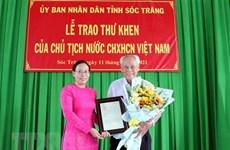 President praises elderly man for charitable activities
