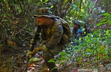 Indonesian, US marine soldiers hold joint drills