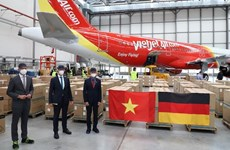 Vietjet Air flight transports relief goods from Germany to HCM City