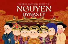 Women's clothing from Nguyen Dynasty revived in chibi-style paintings