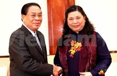 Lao leader receives high-ranking Vietnamese delegation