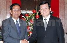 State, Party leaders welcome Cambodia party delegation