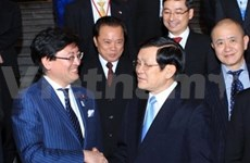 President discusses investment policy with Japanese firms