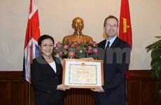 Outgoing UK ambassador awarded certificate of merit