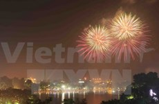 Hanoi fireworks celebrate national reunification day