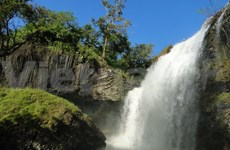 White Waterfall wows visitors in remote countryside paradise