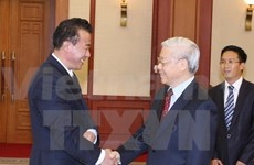Party chief says farewell to DPRK ambassador