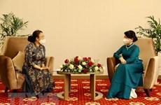 President's spouse receives representatives of Lao-Vietnamese bilingual language school
