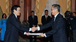 President greets ambassadors of Laos, Ghana, Macedonia