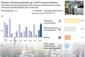 Vietnam: Industrial production up 15.2% in January-February