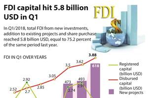 FDI capital hits 5.8 billion USD in Q1