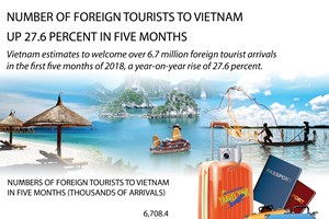 Number of foreign tourists to Vietnam up 27.6 percent in five months