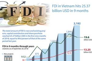 FDI in Vietnam hits 25.37 billion USD in 9 months