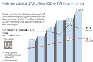 Vietnam attracts 27.9 billion USD in FDI in ten months