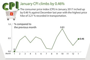 January CPI climbs by 0.46 percent