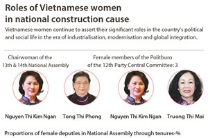 Roles of Vietnamese women in national construction cause