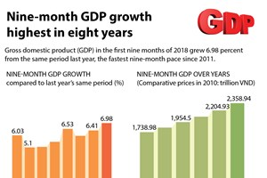 Nine-month GDP growth highest in eight years