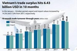 Vietnam's trade surplus hits 6.43 bln in 10 months