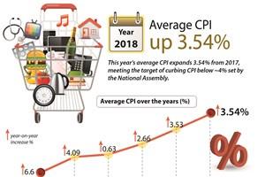 Average CPI  up 3.54% in 2018