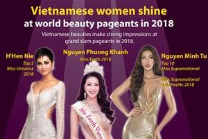 Vietnamese women shine at world beauty pageants in 2018