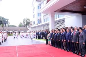 Flag raising ceremony in Laos marks ASEAN's 51st anniversary