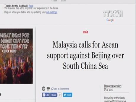 Malaysia calls for ASEAN unity over East Sea