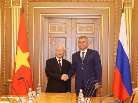 Chairman of Russian State Duma hails visit by Vietnamese Party leader