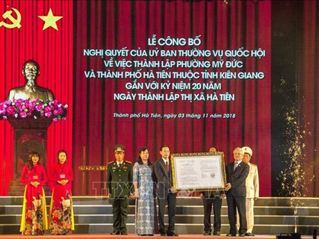 Kien Giang: establishment of Ha Tien city announced