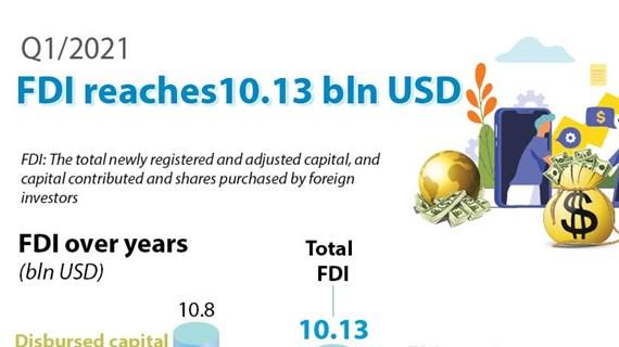 FDI reaches 10.13 bln USD in Q1