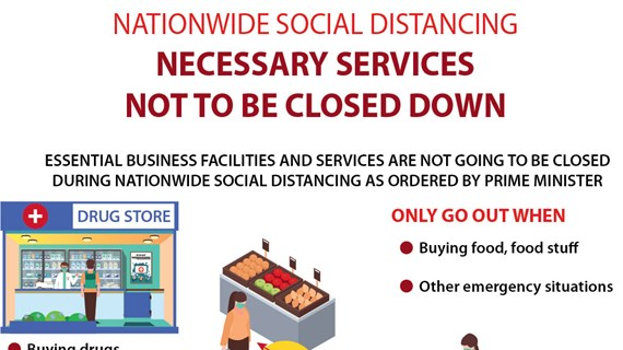 National social distancing: Necessary services not to be closed down