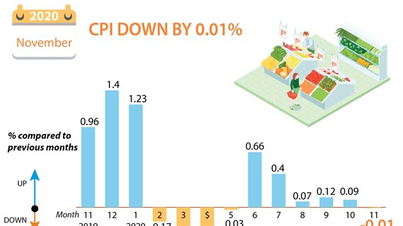 Vietnam's CPI down by 0.01 percent in November