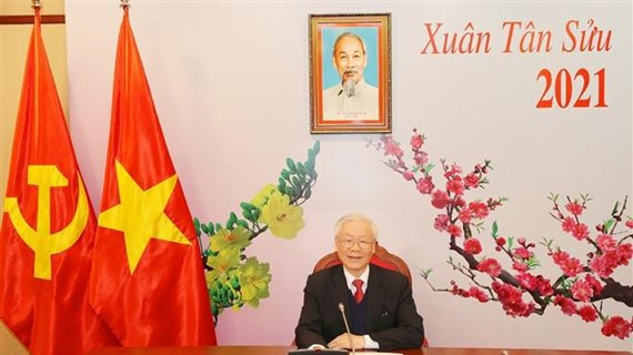Top leader holds phone talks with new Secretary General of Lao People's Revolutionary Party