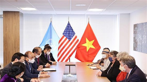 President Nguyen Xuan Phuc receives US friends in New York
