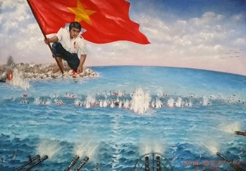 Replica of war painting to be made with gems, coral hinh anh 1