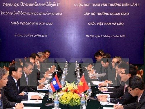 Vietnamese, Lao foreign ministers chair second consultation hinh anh 1
