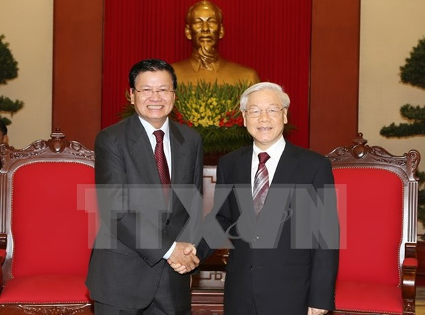 Party leader greets Lao foreign ministry's delegation hinh anh 1