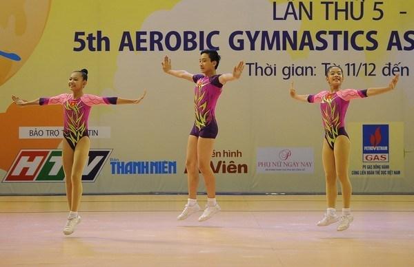 Vietnam earns ten golds at Asian aerobic championships hinh anh 1