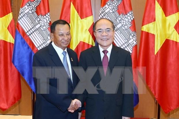 Cambodian Senate President concludes Vietnam visit hinh anh 1