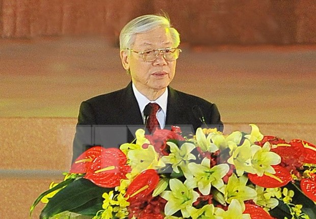 Foreign party leaders congratulate newly-elected Party chief hinh anh 1