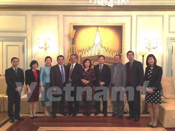 Vietnamese Ambassador wishes Lao Embassy happy New Year hinh anh 1