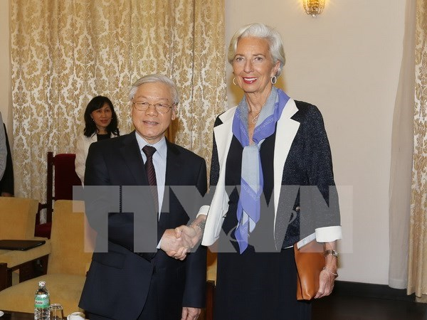 Party General Secretary welcomes IMF director hinh anh 1