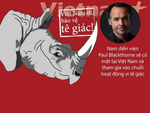 Hollywood movie star in Vietnam to protect rhinos hinh anh 1