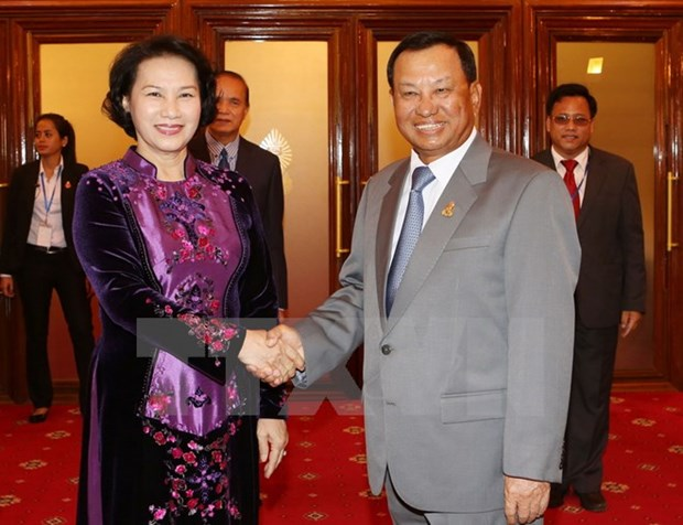 NA Chairwoman meets Cambodian leaders, leaves for Myanmar hinh anh 1