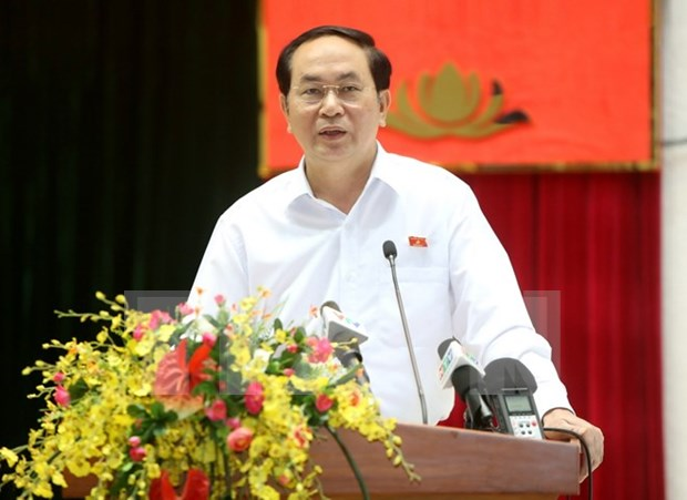 President meets HCM City's voters hinh anh 1