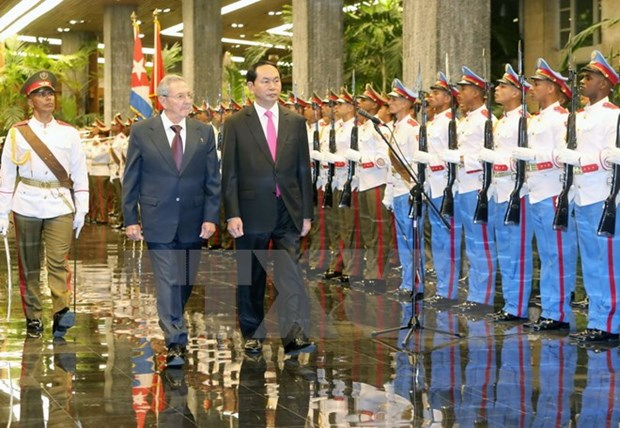 President Tran Dai Quang holds talks with Cuban leader hinh anh 1