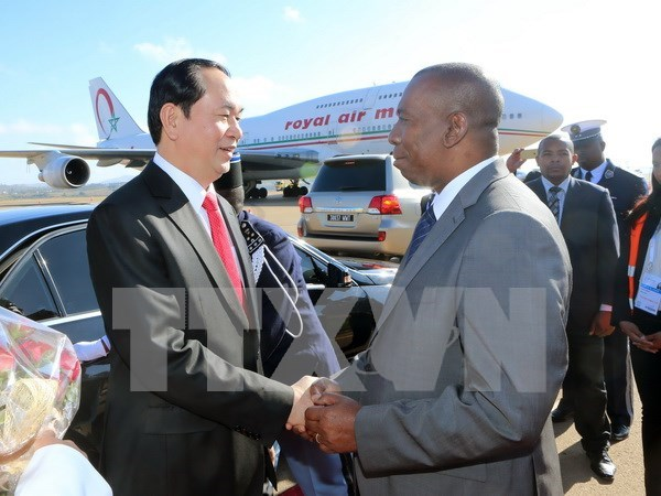 President arrives in Madagascar for 16th Francophone Summit hinh anh 1